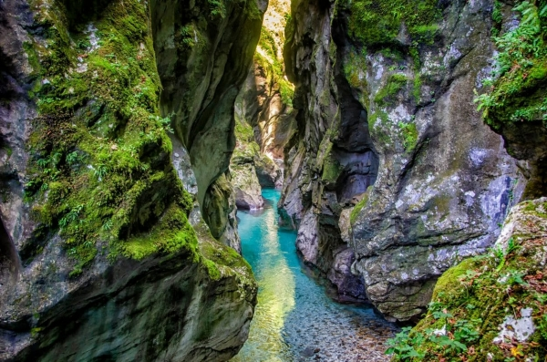 Clear water in Tolmin Gorges