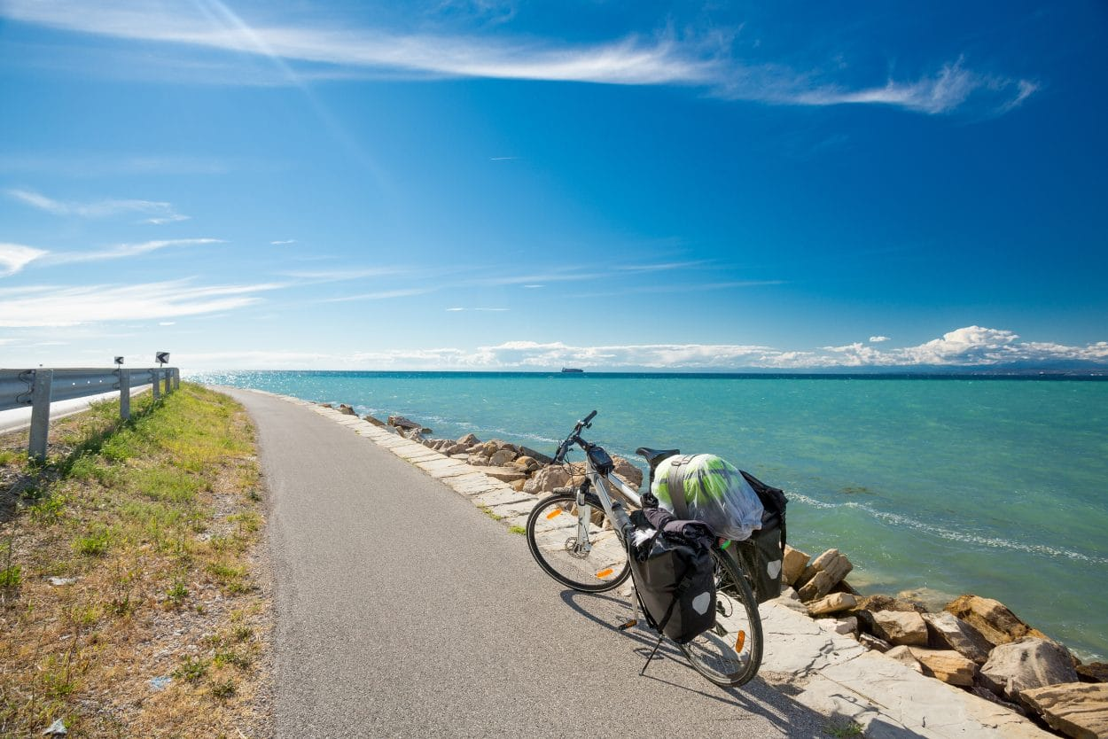 Cycling along Slovenian coast