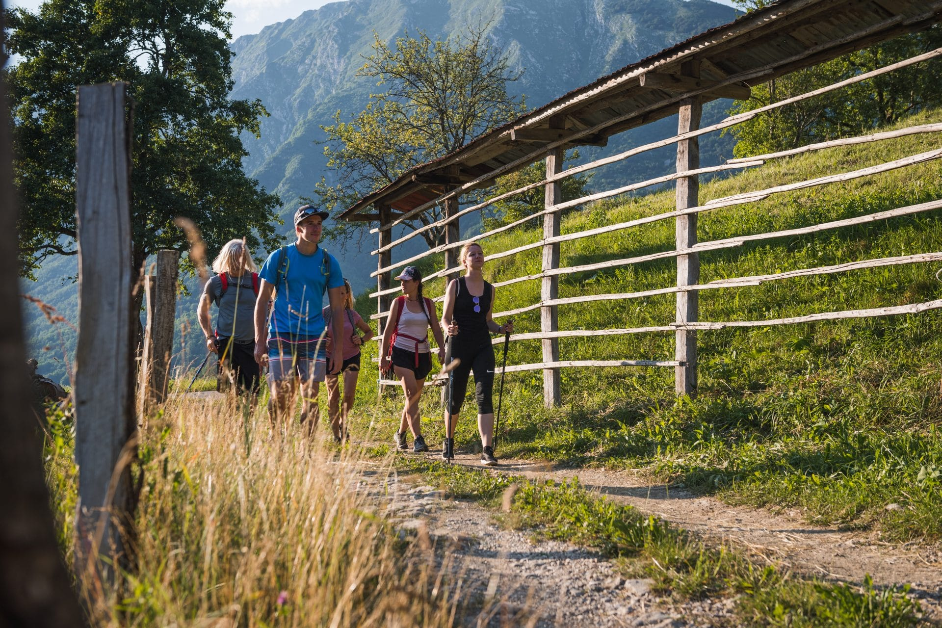 Group hiking in the Slovenian countryside
