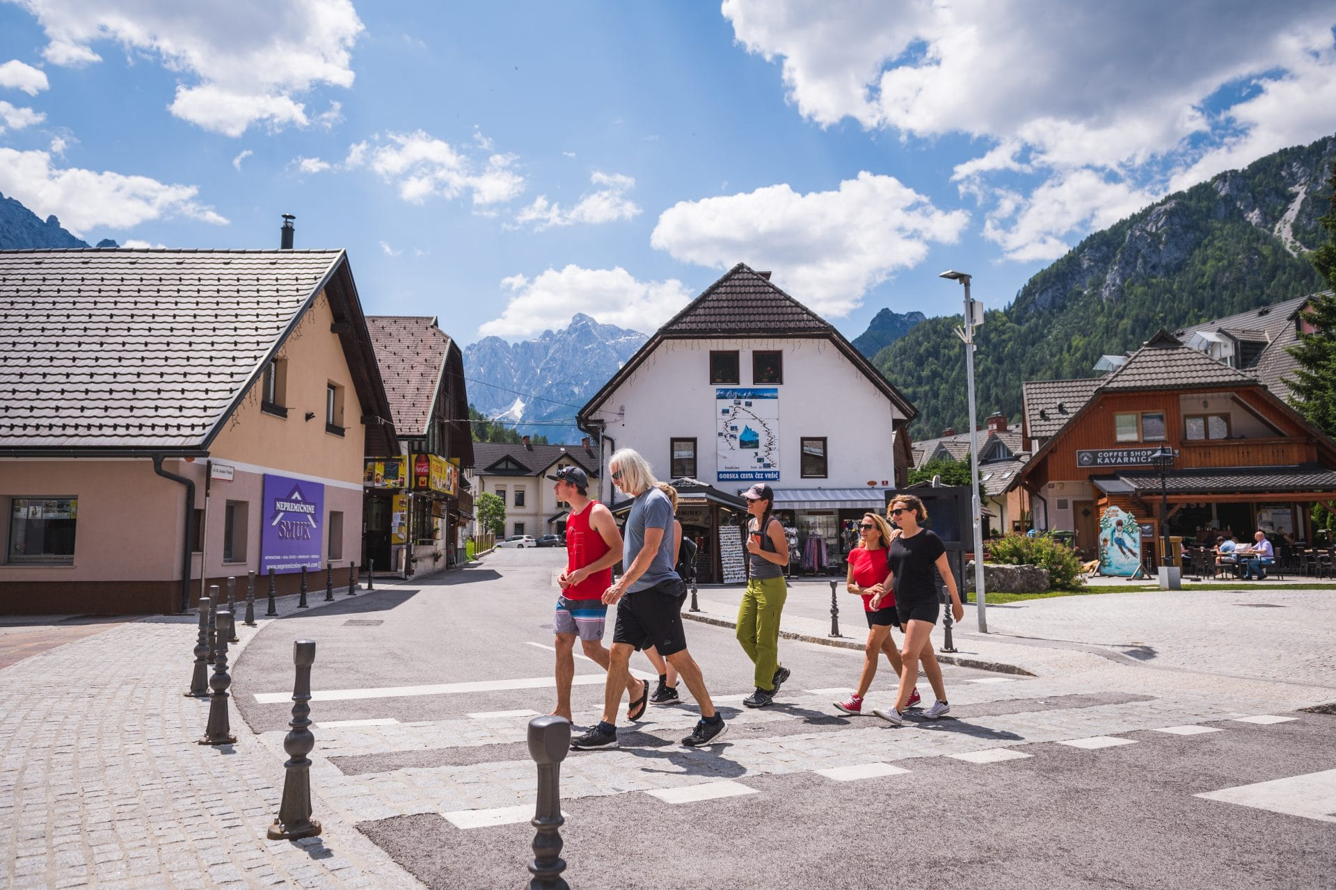 Group walking in Kranjska Gora