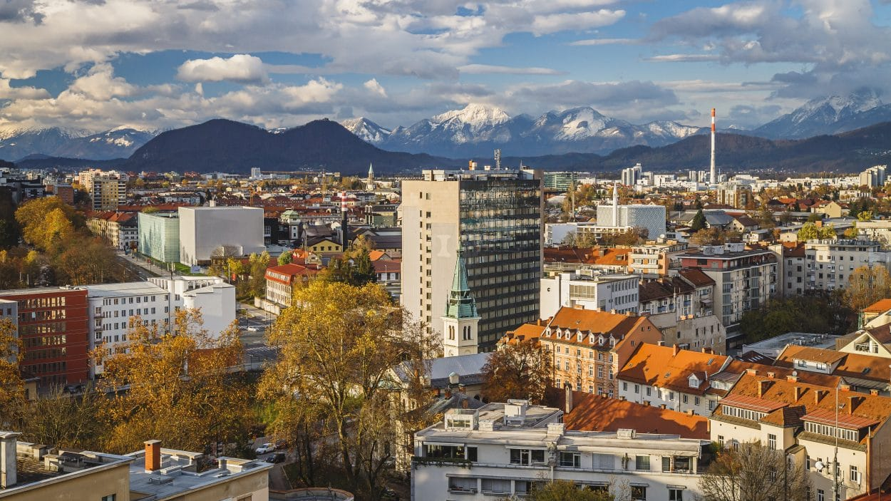 Panorama of Ljubljana in autumn