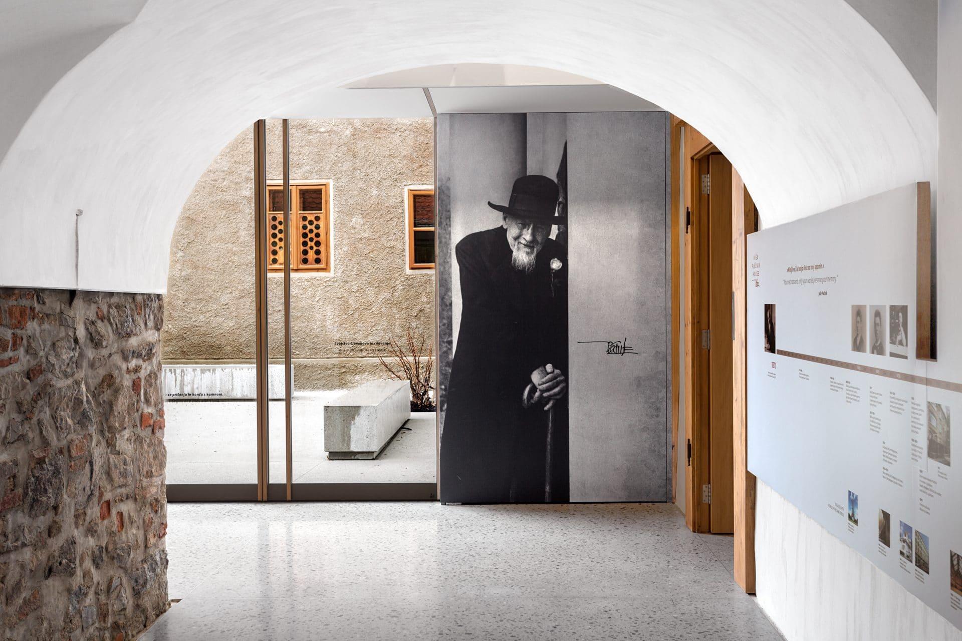 Plečnik House entry and a picture of Jože Plečnik, the famous architect from Ljubljana