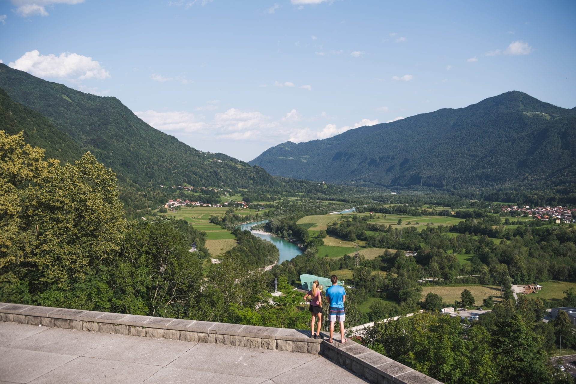 Views of Soča River from Kobarid ossuary