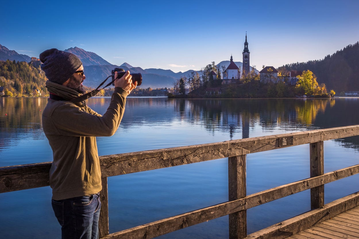 Taking photos in Bled