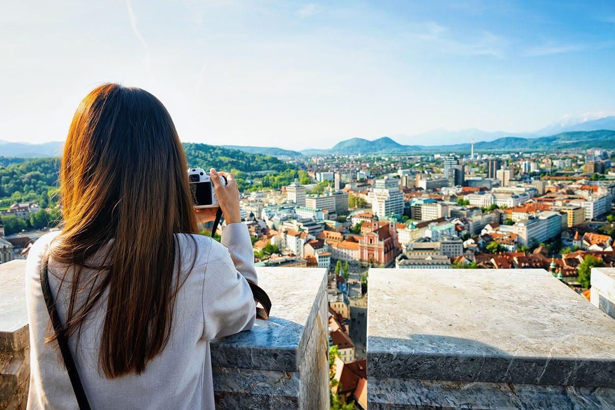 Taking photos in Ljubljana