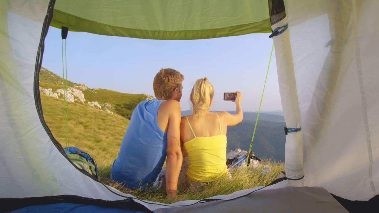 Taking photos camping