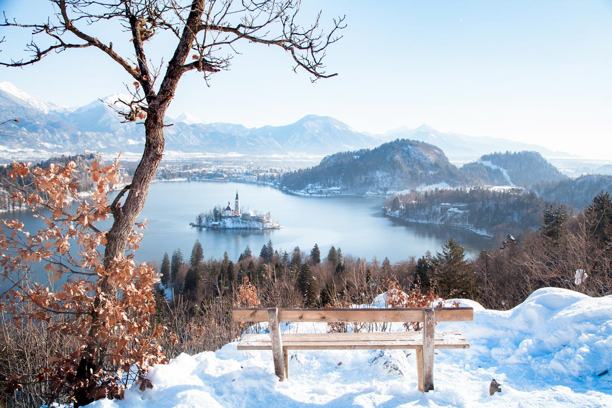 Winter panorama of Lake Bled